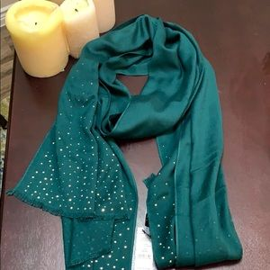NWT LONG, WIDE, GILDED, GREEN, GORGEOUS SCARF!!!